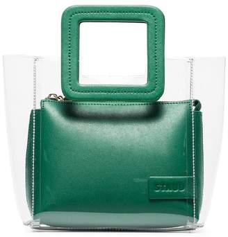 clear Staud Mini Shirley green and leather and PVC tote