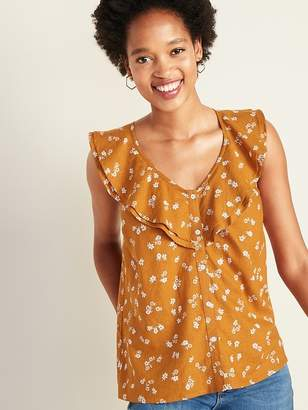 Old Navy Ruffle-Tiered Linen-Blend Button-Front Blouse for Women