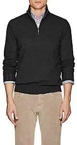 Fioroni Men's Duvet Cashmere Half-Zip Turtleneck Sweater - Charcoal