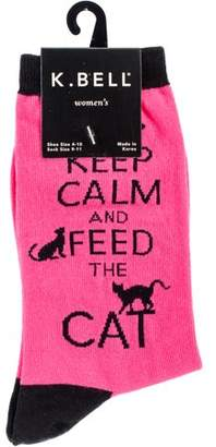 K. Bell Novelty Crew Socks - Feed The Cat