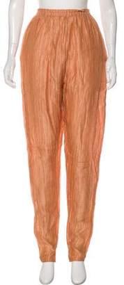 Joan Vass Linen Blend High-Rise Pants