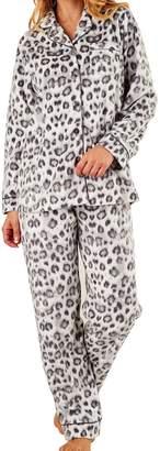 Slenderella Ladies Luxury Animal Print Super Soft Fleece Lounge Suit Pyjamas