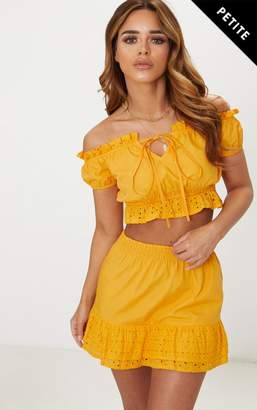 PrettyLittleThing Petite Mustard Broderie Anglaise Detail Bardot Crop Top