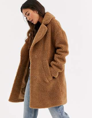 Abercrombie & Fitch teddy coat in tobacco