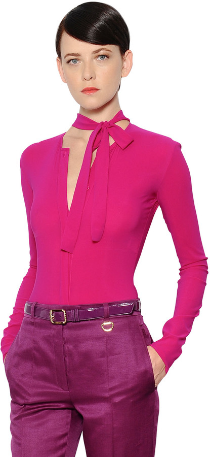 Nina RicciBow Collar Stretch Crepe Jersey Bodysuit