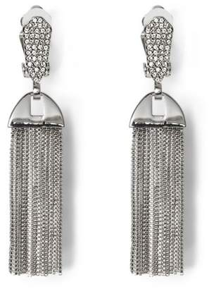 Vince Camuto Silvertone Pavé Tassel Clip-on Earrings