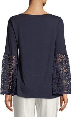 Neiman Marcus Lace-Cuff Bell-Sleeve Tee