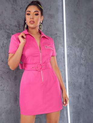 Shein Zipper Front Patch Pocket Belted Dress