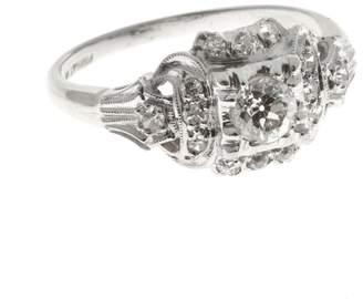 Vintage Art Deco Antique Platinum with .33ct Diamond Ring Size 6