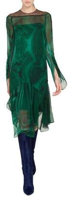 Akris Draped-Sleeve A-Line Malachite-Print Silk Crepe Dress w/ Slits