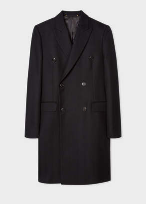 Paul Smith Men's Black Double-Breasted Wool Overcoat