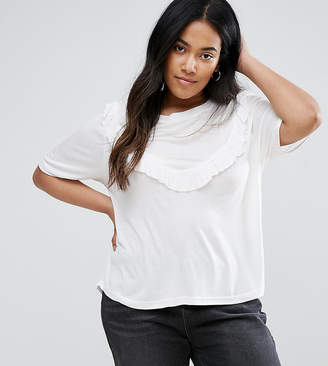 Brave Soul Plus T-Shirt With Frill Detail