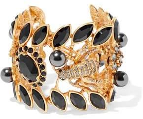Oscar de la Renta Gold-Tone Crystal Stone And Faux Pearl Cuff