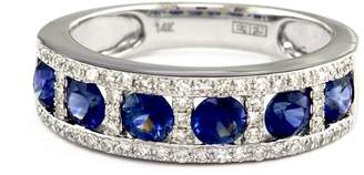 Effy 14K White Gold Diamond And Sapphire Ring