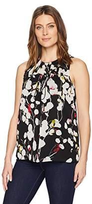 Ellen Tracy Women's Sleeveless Blouse with Grommet/Tie