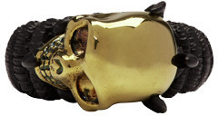 Alexander McQueen Black & Gold Skull Ring $330 thestylecure.com