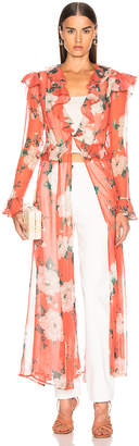 Leone We Are we are Marlowe Maxi Cardigan in Coral Romantic Floral | FWRD