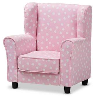 Baxton Studio Selina Heart Patterned Fabric Upholstered Kids Armchair Pink