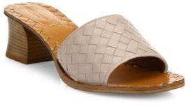 Bottega VenetaBottega Veneta Intrecciato Leather Block-Heel Slides