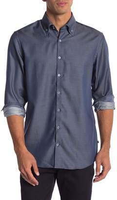 Lindbergh Jacquard Double Collar Regular Fit Long Sleeve Shirt