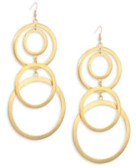 Kenneth Jay Lane Gold Plated Open Circle Dangling Earrings