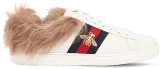 Gucci New Ace Fur Lined Leather Sneakers