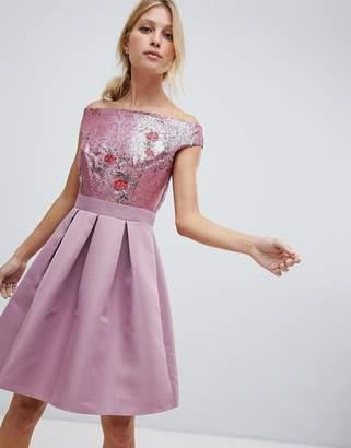 Little Mistress bardot sequin top mini prom dress