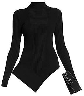 Off-White Women's Asymmetric Rib-Knit Mockneck Top