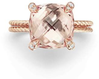 David Yurman Chatelaine(R) Morganite & Diamond Ring in 18K Rose Gold