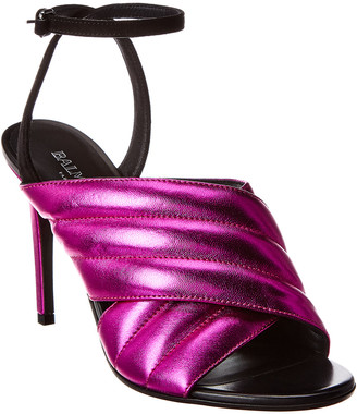 Balmain Janelle Matelasse Metallic Leather Sandal