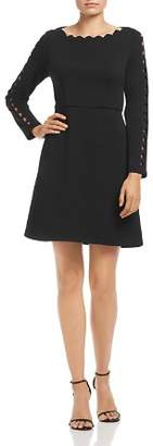 Adrianna Papell Scalloped Crepe Dress