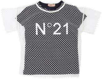 N°21 Cotton Jersey T-Shirt & Fishnet Top