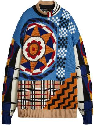 Burberry Wool Cashmere Cotton Graphic Intarsia Sweater