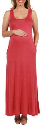 24/7 Comfort Apparel 24Seven Comfort Apparel Marion Sleeveless Maternity Maxi Dress - Plus