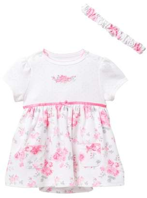Little Me Sweet Rose Bodysuit Dress & Headband Set (Baby Girls)