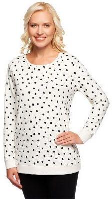 Denim & Co. Active Dot Print French Terry Sweatshirt