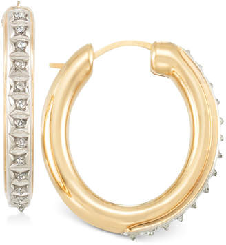 Signature Diamonds Medium Hoop Earrings in 14k Gold over Resin Core Diamond and Crystallized Diamond Dust