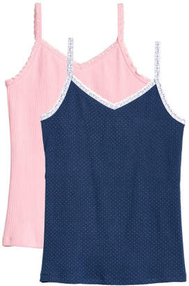 H&M 2-pack Lace-trimmed Tank Tops - Blue