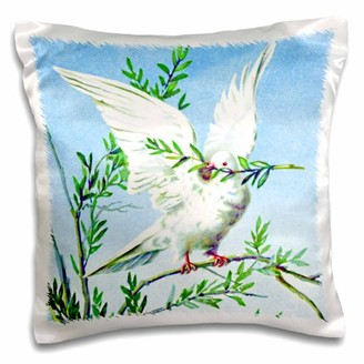 3dRose White dove with green olive branch of peace in mouth against blue sky - vintage bird painting print - Pillow Case, 16 by 16-inch