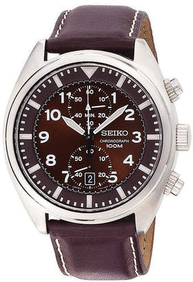 Seiko Mens Brown Leather Strap Chronograph Watch SNN241