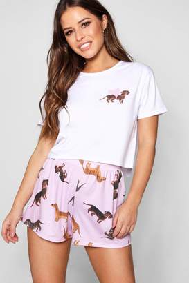 boohoo Petite Gracie Dog Pyjama Set