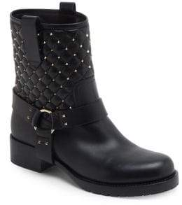 Valentino Rockstud Spike Leather Biker Boots