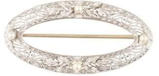 14K Pearl Filigree Art Deco Brooch