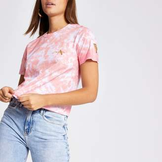 River Island Womens Pink tie dye crop T-shirt