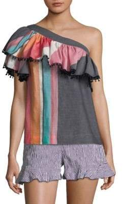 Trina Turk Striped One-Shoulder Top