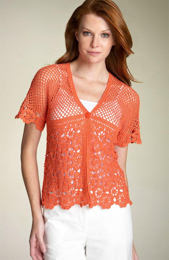 Jones New York Sport Kimono Sleeve Crochet Cardigan