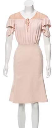 Altuzarra Short Sleeve Knee-Length Dress Champagne Short Sleeve Knee-Length Dress