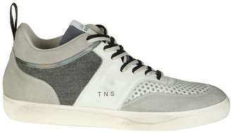 Leather Crown Sneakers In Leather Color White And Gray