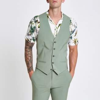 River Island Mens Mint Green suit waistcoat