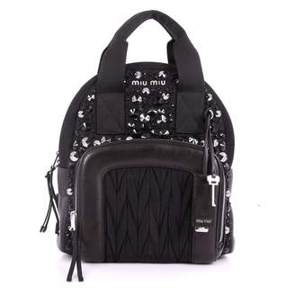 Miu Miu Matelasse Black Cloth Backpacks